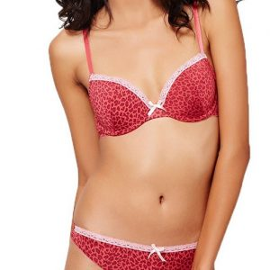 Leopard Print Padded Wired Bra With Low Rise Thong Pakistan